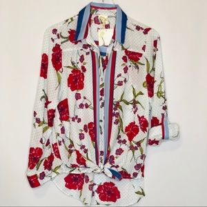 New Fig and Flower Red, Blue & White Top (M)